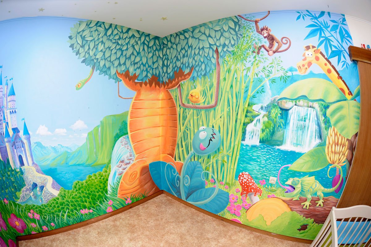 Fresque murale pour une chambre d'enfants ambiance Jungle ...
