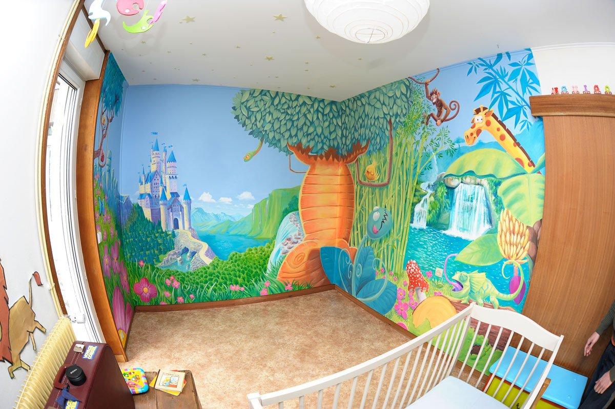 Fresque murale pour une chambre d enfants ambiance jungle tetatoto graphistes illustrateurs for Ambiance chambre enfant