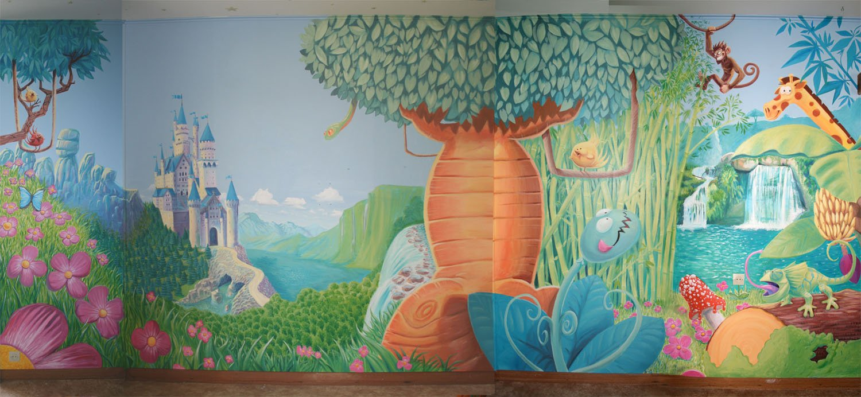 Fresque murale pour une chambre d enfants ambiance jungle for Peinture murale enfant